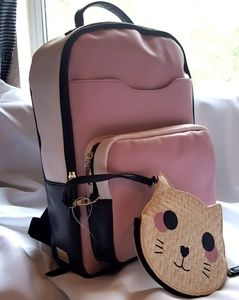 Betsey Johnson Blush Pink Backpack + Kitty Case